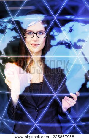 Business woman on the Internet, network and world map, collage