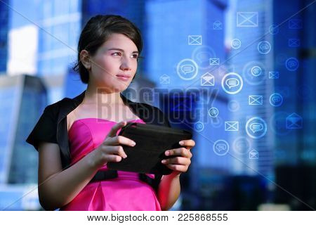 Girl with tablet uses a worldwide network for correspondence, collage