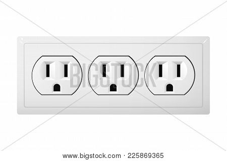 Triple Electrical Socket Type B. Power Plug Vector Illustration. Realistic Receptacle From Canada.