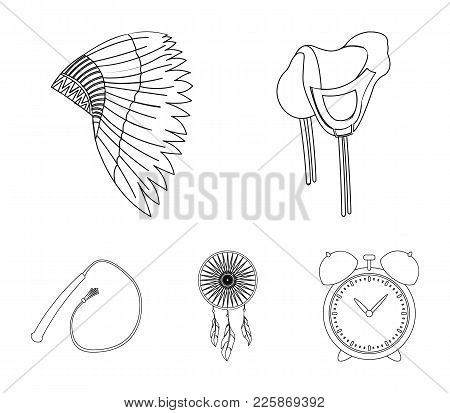 Saddle, Indian Mohawk, Whip, Dream Catcher.wild West Set Collection Icons In Outline Style Vector Sy