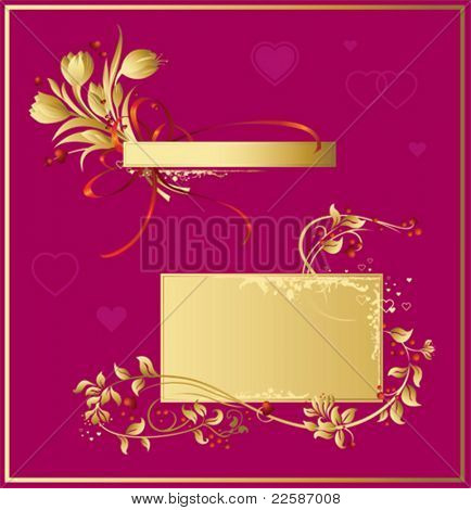 Gold valentines background - floral elements & hearts