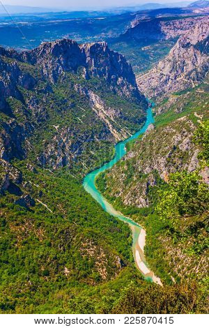 Magnificent French Alps. The river Verdon flows along the bottom of the canyon Verdon. Fascinating journey through the mountain Provence. Concept of active and extreme tourism
