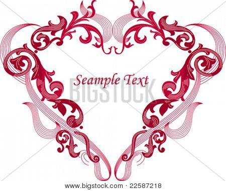 Heart shape frame, vector illustration.