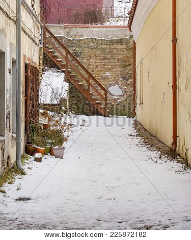 Winter In The City. Courtyard In Old Town