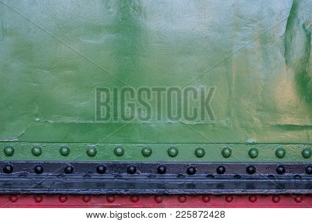 Metal Plates With Rivets - Locomotive Exterior , Clinched Metal Background