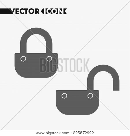 Lock Icon In Trendy Flat Style Isolated On Grey Background. Security Lock Symbol For Your Web Site D
