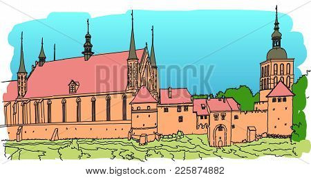 An Old Fortress On The Shore Of The Baltic Sea. Frombork. Gothic Brick Towers, Walls, Houses And Cat
