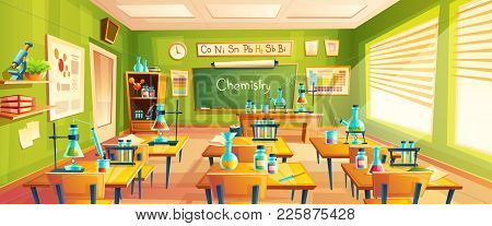 Vector Cartoon Background With Chemistry Classroom, Interior Inside. Education Concept Illustration,
