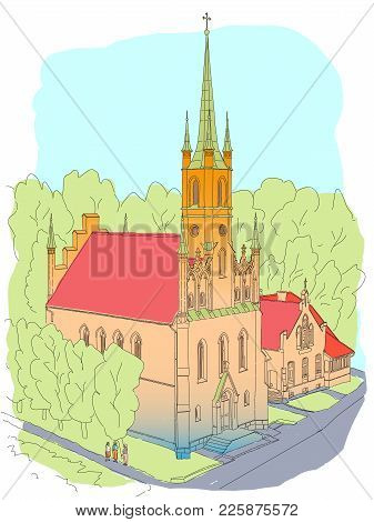 Color Sketch Of The Cathedral In The Gothic Style. In The Small Cozy Town In Europe.