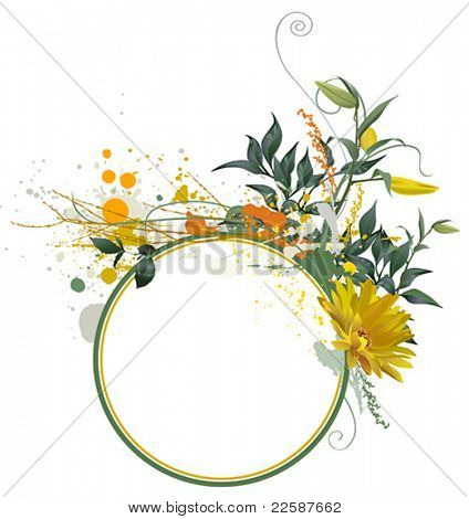 Grunge floral composition for your text, vector illustration