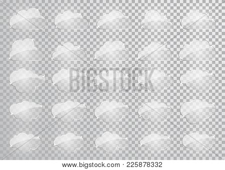 Clouds Silhouettes. Vector Set Of Glass Clouds Shapes. Collection Of Various Forms And Contours. Des