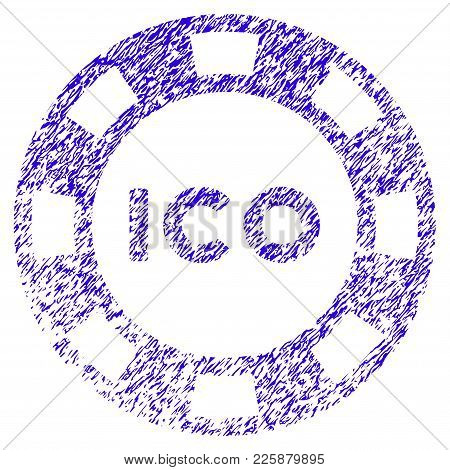 Grunge Ico Token Rubber Seal Stamp Watermark. Icon Symbol With Grunge Design And Dirty Texture. Uncl