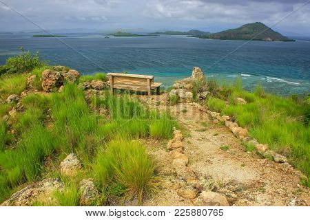 Hiking Trail And A Bench At The Viewpoint On Kanawa Island In Flores Sea, Nusa Tenggara, Indonesia.