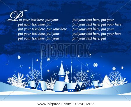 Christmas card with town, snow and moon, vector illustration