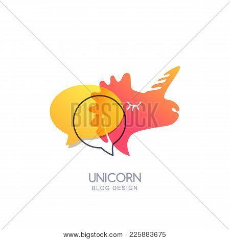 Vector Unicorn And Speech Bubble, Logo Icon Or Emblem. Illustration Of Unicorn Pinkl Head For Blog,