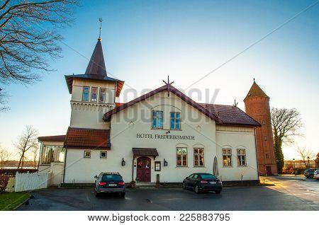 Praestoe Denmark - December 4. 2017: Hotel Frederiksminde Is A Hotel And Michelin Restaurant In Town