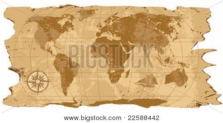 A grunge, rustic world map, vector illustration