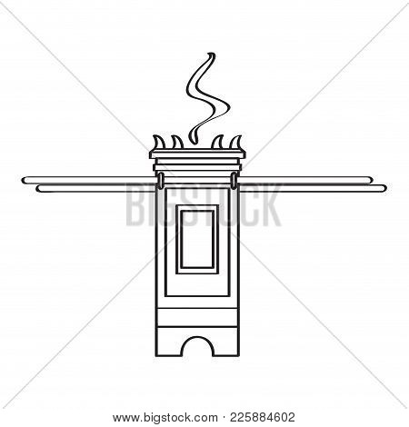 Isolated Golden Tabernacle Icon. Vector Illustration Design