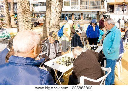 Benidorm, Spain - January 29: People Playing Chess Outdoors In Benidorm, Spain.