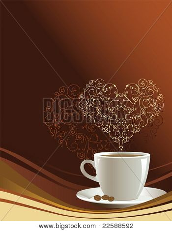 Coffee cup on a brown background with heart, illustration