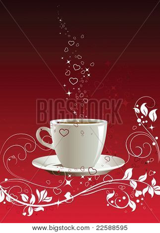 Coffee cup on a red background with floral pattern, illustration