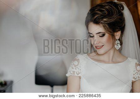 Gorgeous Bride Portrait, Elegant Woman In White Wedding Dress, Beautiful Bride Concept