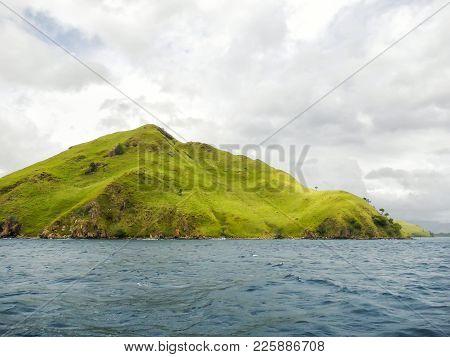 Volcanic Island In Komodo Naional Park, Flores Sea, Nusa Tenggara, Indonesia. The Park Comprises A C