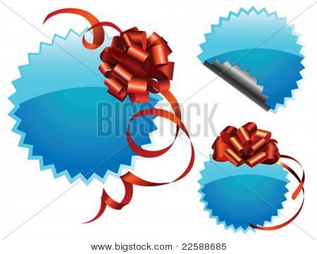 Set of price tags with red ribbon. This illustration can be used for your design. Vector images scale to any size.