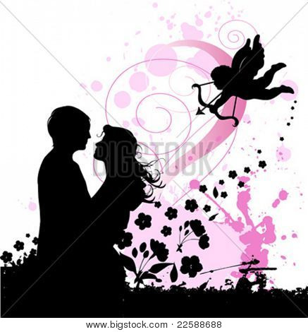 Valentine's background with cupid and couple in love. Urban City Party, vector images scale to any size.