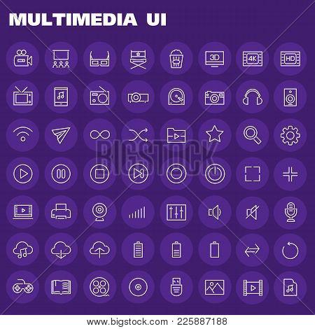 Trendy Flat Design Big Multimedia Icons Set