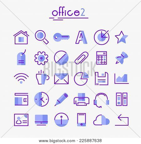 Vector Set Of Trendy Inline Bold Office Icons, White On Blue, Set 2