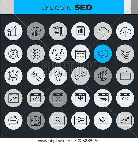 Trendy Line Icons - Seo And Internet Marketing Icons Collection