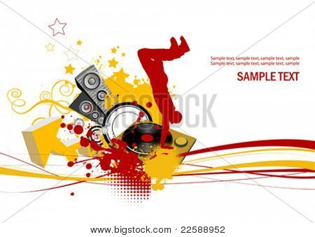 Dancing young men. Music concept. All elements and textures are individual objects. Vector images scale to any size.