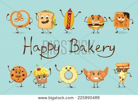 Cartoon Illustration Of Funny Food Bakery Characters - Hot Dog, Waffle, Cookie,toast With Cheese, Wa