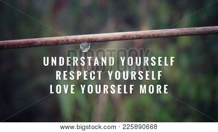 Motivational And Inspirational Quotes - Understand Yourself, Respect Yourself, Love Yourself More. W