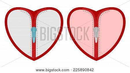 Heart With Zipper. Vector Isolated Set Of Hearts With Zippers.