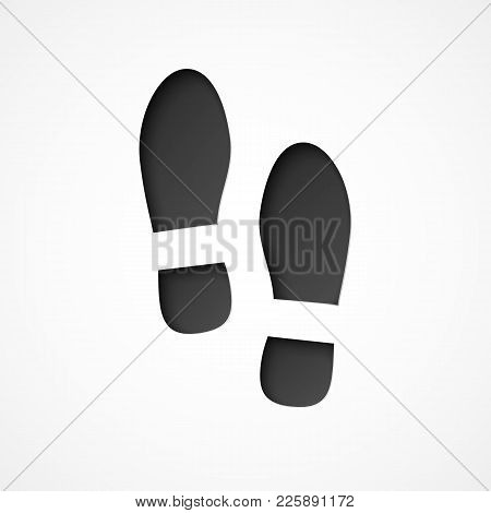 Track Of A Pair Of Shoes.  Footprint By Boots. Vecttor Illustration