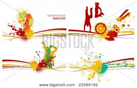 Set of color stain with silhouettes of the people. All elements and textures are individual objects. Vector illustration scale to any size.