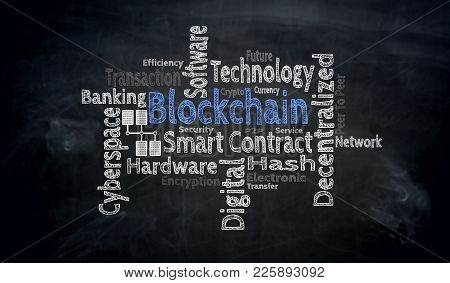 Blockchain Wordcloud On Blackboard Concept Picture Background