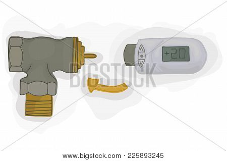 Angle Valve With Electronic Thermostatic Head With Display. Heating System. House Temperature Contro
