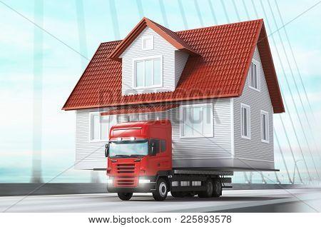 House On Tir, Moving Home , 3d Render Illustration