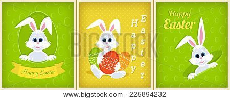 Set Of Happy Easter Greeting Cards. White Cute Easter Bunny Peeking Out Of A Hole, Ribbon, Eggs, Con