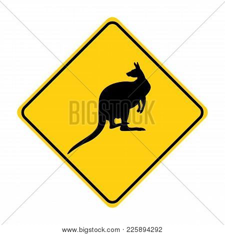 Kangaroo Silhouette Animal Traffic Sign Yellow  Vector Illustration