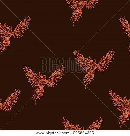 Hand Drawn Chinese Peacock Tattoo.asian Phoenix Fire Bird Tattoo Design. Illustration Isolated Seaml