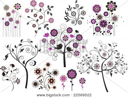 Set of abstract design floral elements. All elements and textures are individual objects. Vector illustration scale to any size.