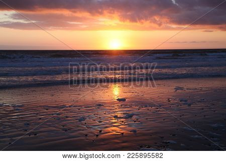 Wild Sunset On The Bay Of Biscay In Brittany In France