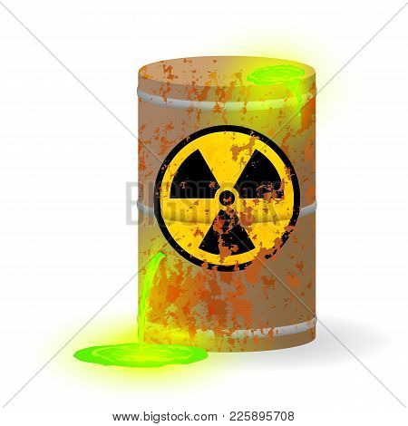 Vector Illustration. Chemical Radioactive Waste In A Rusty Barrel. Toxic Green Fluorescent Liquid In