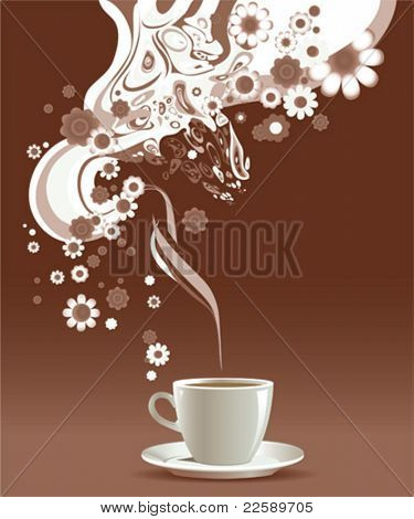 Coffee cup with floral pattern.  All elements and textures are individual objects. Vector illustration scale to any size