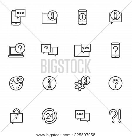 Set Help And Around The Clock Support Vector Icons. Vector Line Icons Phone Help And Online Assistan