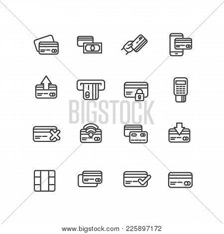 Set Payment By Bank Plastic Card For Shopping, Services Or Goods Vector Icons. Vector Line Icons Cre